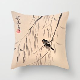 Two Black Birds Throw Pillow