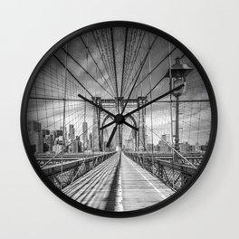 NEW YORK CITY Brooklyn Bridge | Monochrome Wall Clock