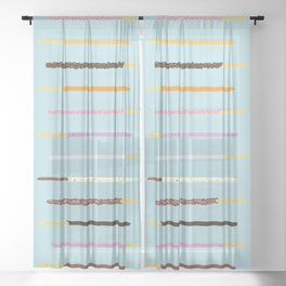 21 Flavors of Pocky - blue Sheer Curtain