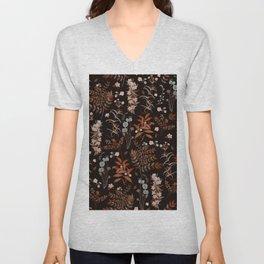 Vintage Autumn Florals on Dark Background Unisex V-Neck