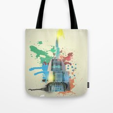 Swan Bell Tower Abstract Tote Bag