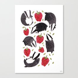 Badgers and Strawberries Canvas Print