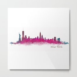 New York NYC City Skyline v05 Pink Violet Metal Print