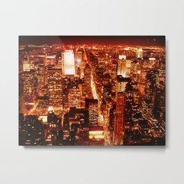 New York : Manhattan Amber Nights Metal Print