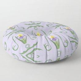 Iris Flowers Illustrated Pattern Purple Green Yellow Summer Garden Floor Pillow