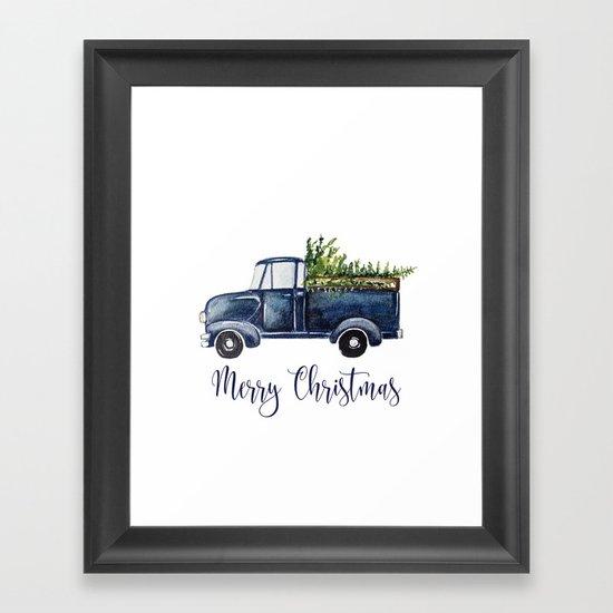 Blue Christmas Truck by craftberrybush