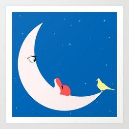 Moon in love Art Print