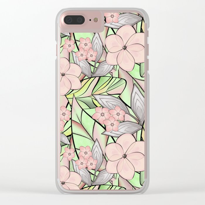 Delicate tropical floral pattern. Clear iPhone Case