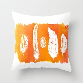 Ink & Feathers orange Throw Pillow