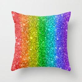 Glittery Rainbow Throw Pillow