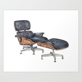 Black Eames Lounge Chair Watercolor and Pen and Ink Art Print