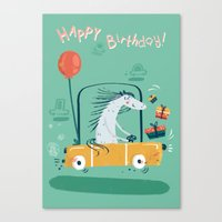 happy birthday Canvas Prints featuring Happy birthday! by Villie Karabatzia