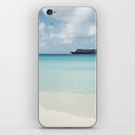Beautiful sand beach with crystal clear water and cruise ship anchored, Bahamas iPhone Skin