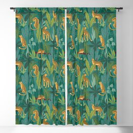 Preppy Tropical Leopard Jungle Scene Blackout Curtain