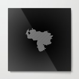 Venezuelan striped map - white Metal Print