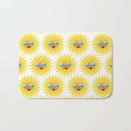 Summer Sun Cartoon with Sunglasses Bath Mat