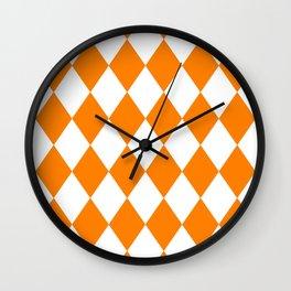 Diamonds (Orange/White) Wall Clock