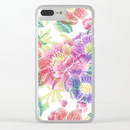 Colorful lowers Collage Pattern Clear iPhone Case