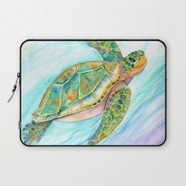 Swimming, Smiling Sea Turtle Laptop Sleeve