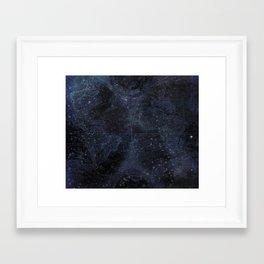 Antique World Star Map Navy Blue Framed Art Print