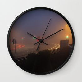Traffic lights in the fog Wall Clock