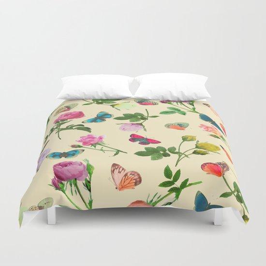 Las Rosas & Mariposas II Duvet Cover