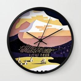 See America Montana travel ad Wall Clock