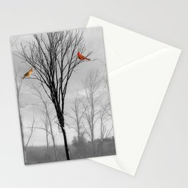 Red birds Cardinals Tree Fog A112 Stationery Cards