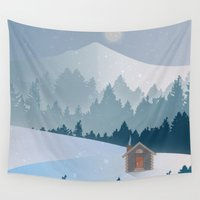 cabin Wall Tapestries featuring Cabin by Eric-Bird