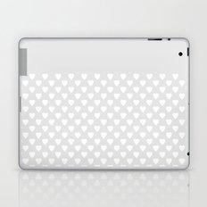 White hearts on light gray background . Laptop & iPad Skin