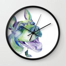 Bluenosed Pitbull Watercolor Painting Wall Clock