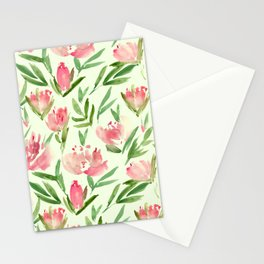 Blush pink peonies - watercolor blooming flowers Stationery Cards