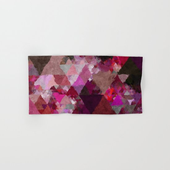 When the night comes- Dark red purple triangle pattern- Watercolor Illustration Hand & Bath Towel
