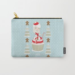 Merry Lady Christmas Cupcake Carry-All Pouch
