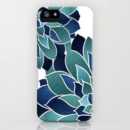 Floral Prints, Navy Blue and Teal on White iPhone Case