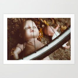 Forgotten dolls in warm autumn colors, oil painting efect Art Print