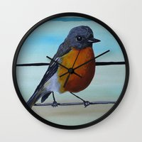 robin williams Wall Clocks featuring A Fragile Robin for Mr. Williams by FrameDope