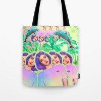 aloha Tote Bags featuring Aloha by Sara Eshak