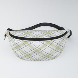 Diagonal tartan gray and yellow over white Fanny Pack