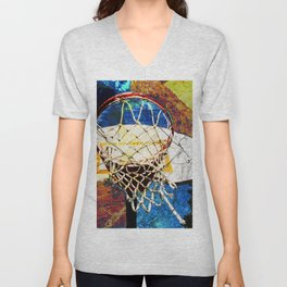 Basketball art print 43 Unisex V-Neck