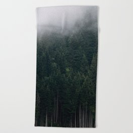 Mystic Pines - A Forest in the Fog Beach Towel