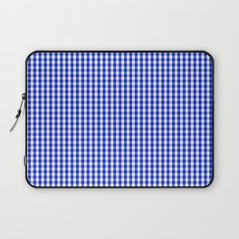 Small Cobalt Blue and White Gingham Check Plaid Squared Pattern Laptop Sleeve