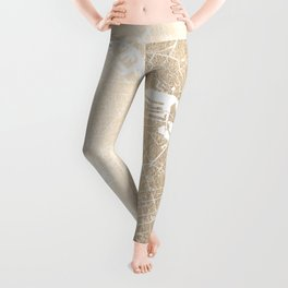 Amsterdam Gold on White Street Map II Leggings
