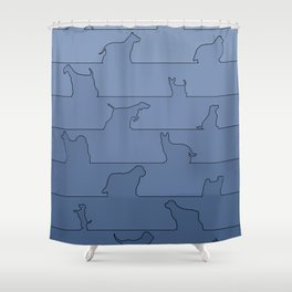 Blue Dog Ombre Shower Curtain