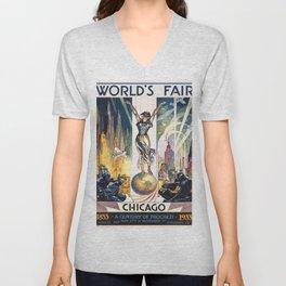 Vintage World's Fair Chicago 1933 Unisex V-Neck