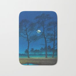Vintage Japanese Woodblock Print Three Tall Trees At Night Forest Field Landscape Bath Mat