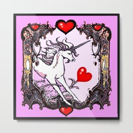 Valentine Unicorn of red Hearts  Metal Print