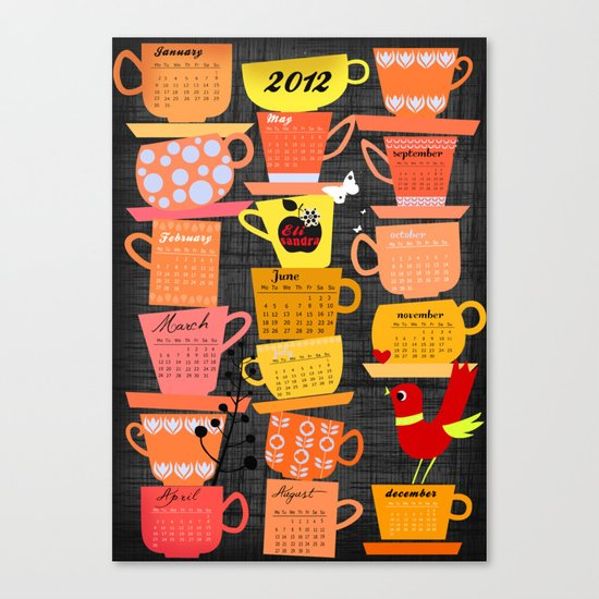 Stapled Cups Calender 2012 Canvas Print