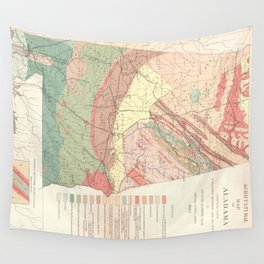 Vintage Agricultural Map of Alabama (1882) Wall Tapestry