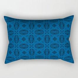 Lapis Blue Diamond Floral Rectangular Pillow